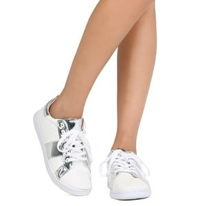 QUPID TWO TONED METALLIC SILVER LACE UP SNEAKERS
